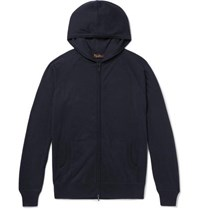 Loro Piana Portland Cashmere And Silk Blend Zip Up Hoodie Midnight Blue