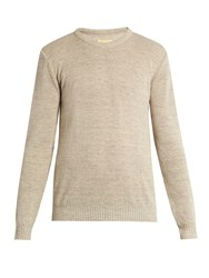 De Bonne Facture Linen And Wool Blend Sweater Beige
