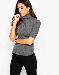 Asos Crop Top With Turtle Neck In Space Dye Grey Marl