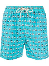 Mc2 Saint Barth Vespa Printed Swim Shorts Blue