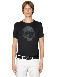 John Varvatos Skull Printed Cotton Jersey T Shirt
