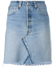 Re Done Short Denim Skirt Blue
