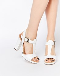 Dune Ismin White Leather And Cork Heeled Sandals White
