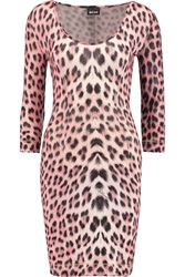 Just Cavalli Leopard Print Stretch Jersey Dress Pink