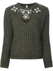 Antonio Marras Embellished Ribbed Sweater Green
