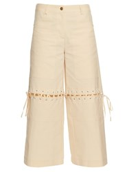 Rosie Assoulin In It Together Cotton Blend Trousers Beige