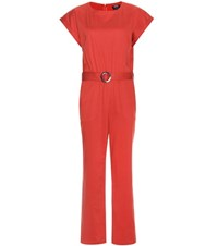 A.P.C. Stretch Cotton Jumpsuit Red