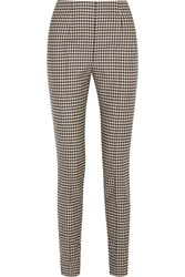 Max Mara Checked Stretch Wool Slim Leg Pants Black