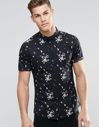 Asos Skinny Shirt With Floral Print In Black And Short Sleeve Ecru