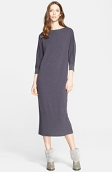 Fabiana Filippi Wool Blend Midi Sweater Dress Blue Slate