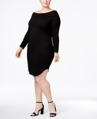 Rachel Roy Trendy Plus Size Off The Shoulder Dress Blk
