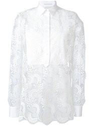 Ermanno Scervino Sheer Paisley Layered Shirt Women Cotton Polyester 46 White