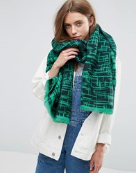 Asos Long Woven Scratchy Graphic Scarf Green