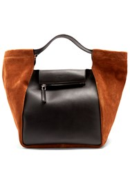 Givenchy Real Trapeze Leather And Suede Tote Black Brown