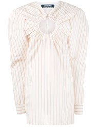 Jacquemus Mini Pinstriped Dress With Keyhole Detailing White