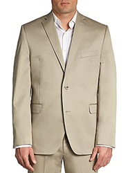 Saks Fifth Avenue Red Slim Fit Cotton Sport Jacket Tan