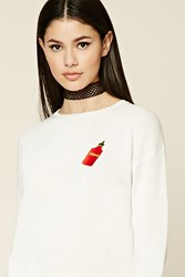 Forever 21 Swag Patch Graphic Sweater Ivory