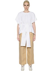 Sportmax Asymmetric Belted Cotton Poplin Blouse