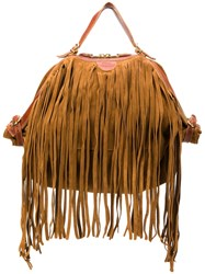 Il Bisonte Fringed Tote Brown