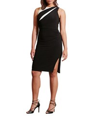 Lauren Ralph Lauren Plus Plus Colorblock Jersey Dress Black White
