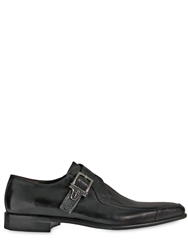 Cesare Paciotti Ostrich And Calf Leather Monk Strap Shoes Black