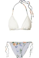 94634bed88 Zimmermann Bowie Crochet And Floral Print Triangle Bikini White
