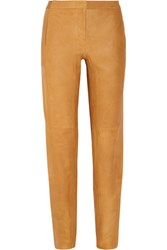 Halston Heritage Tapered Leather Pants Camel