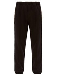 Fendi Logo Jacquard Striped Jersey Track Pants Black