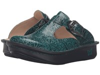 Alegria Classic Teal Tooled Women's Clog Shoes Green