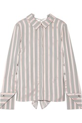 Monse Draped Striped Silk Twill Blouse Gray