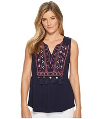 Tribal Sleeveless Embroidered Jersey Top Twilight Women's Sleeveless Blue