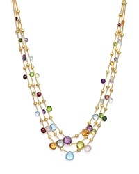 Marco Bicego 18K Yellow Gold Paradise Three Strand Mixed Stone Necklace 16.5