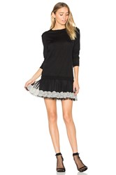 Red Valentino Long Sleeve Tulle Mini Dress Black