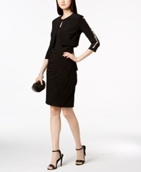 Msk Draped Dress And Embellished Sleeve Short Jacket Black