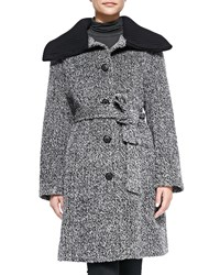 Neiman Marcus Knit Trim Cowl Collar Princess Coat Women's