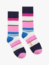 Joules Brilliant Bamboo Striped Socks Pink Mix