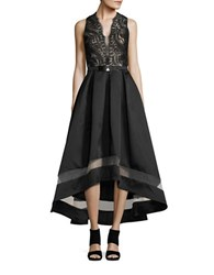 Nicole Bakti Embroidered Hi Lo Gown Black
