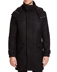 Cole Haan Hooded Wool Blend Duffle Coat Black