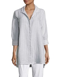 Foxcroft Striped Button Front Shirt Earl Grey