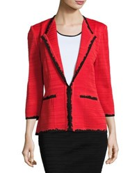Ming Wang 3 4 Sleeve Contrast Trim Jacket Red Black