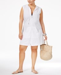 Dotti Plus Size Pretty Palm Hoodie Tunic Cover Up Women's Swimsuit White