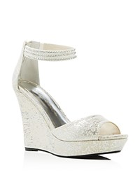 Caparros Chablis Metallic Ankle Strap Wedge Sandals Silver