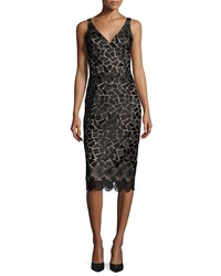 David Meister Sleeveless Embroidered Cocktail Dress Black Taupe Black Brown