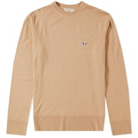 Maison Kitsune Virgin Wool Crew Knit Neutrals