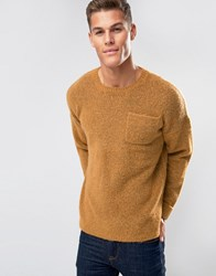 Asos Jumper In Spongy Yarn With Chest Pocket And Roll Up Cuffs Orange