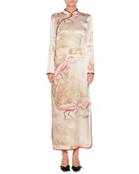 Frs By Francesca Ruffini Flamingos On Lake Long Sleeve Side Split Silk Kimono Gown Blue Pattern