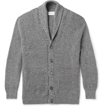 Kingsman Shawl Collar Melange Wool And Cotton Blend Cardigan Gray