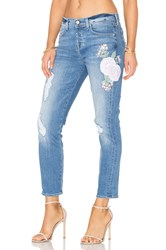 7 For All Mankind Josefina Embroidered Boyfriend Denim Embroidered Botanical