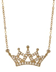 Lord And Taylor 14K Yellow Gold Diamond Crown Necklace Diamond Gold