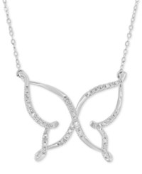 Macy's Diamond 1 10 Ct. T.W. Butterfly Pendant Necklace In 10K White Gold
